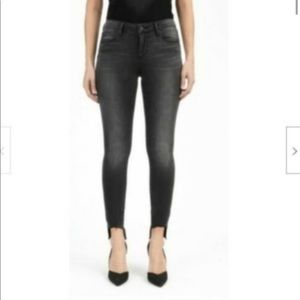 Articles of Society Dark Gray Raw Hem Skinny Jeans
